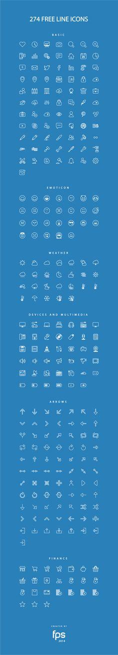 274 kind free line icons set