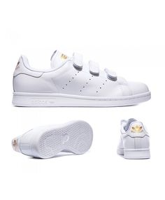 0359e36b7702 Adidas Originals Stan Smith White And Gold Trainers Sale UK