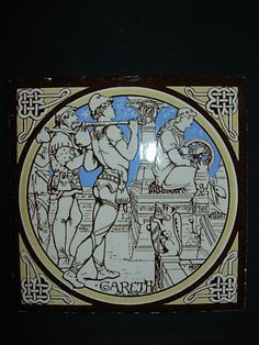 Minton Aesthetic Movement La Morte d Arthur ceramic tiles For Sale | Antiques.com | Classifieds
