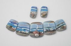 Polymer Clay Beads, Focal Bead Set, Seascape, Aqua, Denim, Statement Beads, Panorama, Graduated Beads, Blue Beads, Jewelry Supplies- PA 6050...