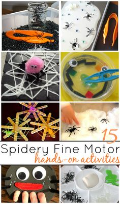 15 Spider Fine Motor Activities for hands On Learning And Play. Halloween themed fine motor activities to improve hand strength, finger dexterity, and hand-eye coordination. Learn and play with easy Halloween themed activities for toddlers and preschoolers.
