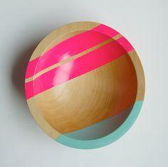 DIY Neon + Wood Bowl Could make this.