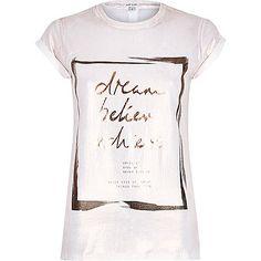 White dream foil print fitted t-shirt - print t-shirts / vests - t shirts / vests / sweats - women