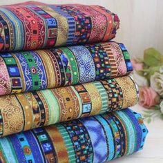 三色民族风烫金棉麻布 日系杂志同款手工布 三色条纹布1/4米起售