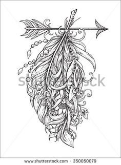 Arrow in ethical pattern with feathers and tracery ornaments in style tattoo Dotwork