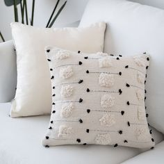 cygnus Farmhouse Throw Pillow Covers Boho Decorative Black and Beige White Accent Pillows Cover Woven Tufted Tassel Cushion Case Home Decor(Square inch) Boho Throw Pillows, Boho Cushions, Black Cushions, Throw Pillow Covers, Accent Pillows, Black And White Pillows, Cream Cushions, Beige Pillows, Cushions On Bed