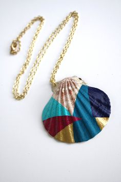 Sea Shell Necklace Pendant Necklace - Magenta, Turquoise, Gold, Teal, Navy Blue Color Block Geometry. $58.00, via Etsy.