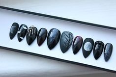 Witch Goth Press on Nails   Occult   Skeleton   Moon Phase   Witchy   Handpainted Nail Art   Glue On Nails   Any Shape and Size