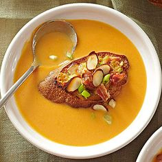 The cheesy bacon toasts may get a lot of attention, but the real star of this healthy comfort food recipe is the creamy sweet potato soup that gets a protein boost from plain Greek yogurt.
