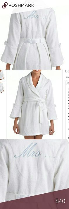 """New With Tags -- Betsy Johnson  Mrs. Robe Never worn NEW with tags !! Perfect condition. White with satin bows accents and blue embroider """"MRS.."""" on back. Size Medium. Perfect for bride to be or an already MRS. Offers accepted. Betsey Johnson Intimates & Sleepwear Robes"""