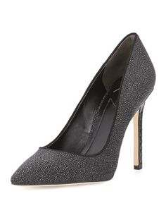 Naina Textured Suede Point-Toe Pump, Black by B Brian Atwood at Neiman Marcus.