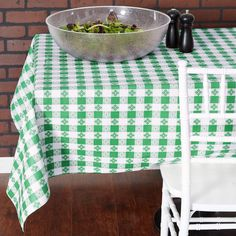Green and White Polka Dot Apples PVC Vinyl Wipeable Wipeclean Tablecloth