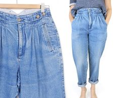 Vintage 90s High Waisted Pleated Mom Jeans - Size 8 - Women's Faded Baggy Dockers High Rise Denim Trousers - 28 Waist
