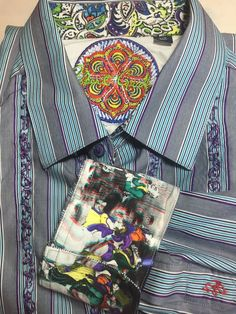 Inside collar area has sewn patch of pickup truck with Christmas Tree with embroidered Robert Graham; contrast flip cuffs and under collar. Mens Printed Shirts, Funky Outfits, Contrast Collar, Robert Graham, Tall Guys, Signature Style, Attic, Dapper, Colorful Shirts