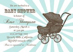 Baby shower invitation blue printable custom by CupidDesigns, $20.00