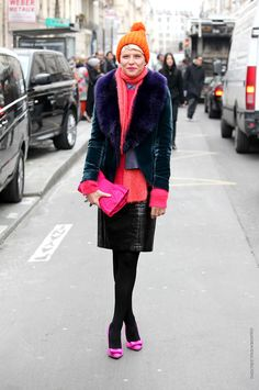 Elisa Nalin it in pink and orange with a touch of fur.