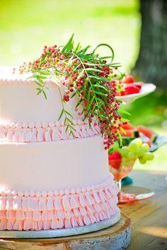 Pink wedding cake from Cake Works