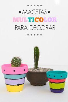 Macetas multicolor para decora #macetas multicolor para decorar