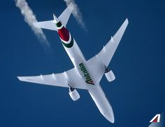 30.000 ft above Krakow. Alitalia Boeing 777 - picture realized with a telescope