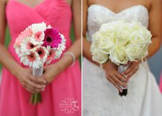 Beautiful bride vs. bridesmaids bouquets! the exact flowers i want colors to be but swapped