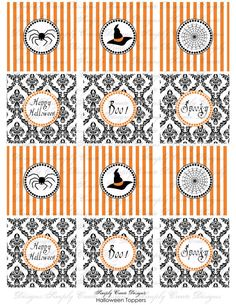 Damask Halloween Tags