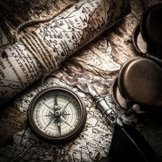 vintage still life with compass,sextant and old map photo: