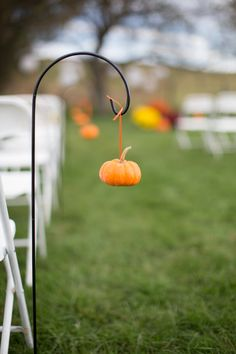Hanging Pumpkin Ceremony Decor|Fall Wedding at Spring Meadow Farm|Photographer:  Gayle Driver Photography
