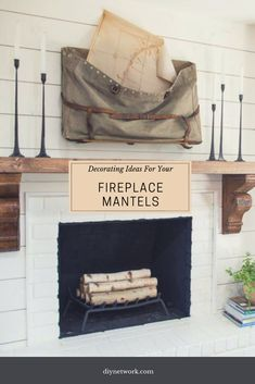 Get traditional, modern and country decorating tips for filling your fireplace mantel. Rustic Mantel, Rustic Fireplaces, Fireplace Mantels, Rugs In Living Room, Living Room Decor, Large Floor Vase, Beautiful Living Rooms, Vases Decor, Home Decor Inspiration