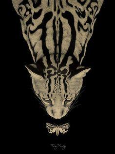 Ocelot and butterfly - ilustración de Ferdy Remijn