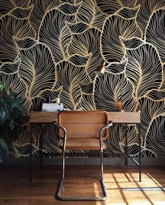"885 Likes, 18 Comments - Green & Mustard (@greenandmustard) on Instagram: ""The love for this gold leaf wallpaper was outstanding as well. @etsy…"""