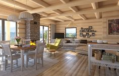 Discover recipes, home ideas, style inspiration and other ideas to try. Cabin Interior Design, Chalet Interior, House Design, Wooden House, Winter House, Log Homes, My Dream Home, Cabin Interiors, Sweet Home