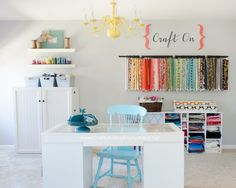 Craft Room with Craft Desk and lots of awesome organization ideas! www.CraftaholicsAnonymous.net