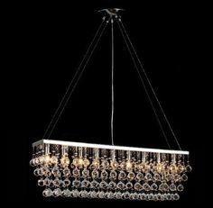 """Chandelier Light W/ Crystal Modern Contemporary """"Rain Drop"""" Chandeliers Linear Pendant - F7-926/9"""