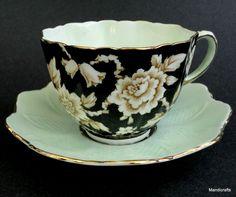 Paragon UK Tea Cup & Saucer Black Wht Floral G6125 Bone China 1940s Queen Stamp #Paragon