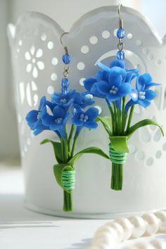 Blue polymer clay earrings Floral earrings Flower by DecorUA