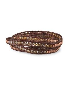 image of Brown Czech Crystal Leather Cord Wrap Bracelet