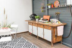 DIY upcycling outdoor Küche im Boho vintage Look aus einer alten Werkbank als Küche für den Garten im Sommer