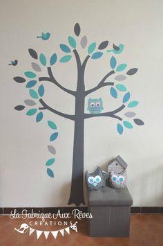 stickers arbre turquoise pétrole gris hibou oiseaux - décoration chambre bébé garçon turquoise pétrole gris hibou