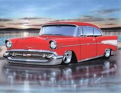 1957 Chevy Bel Air 2 Door Hardtop Classic Car Art Print Red