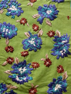 Green, Blue and Red Hand embroidery on cotton. Folky Needlework