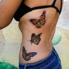 Monarch Butterflies Tattoo by Adam Sky, Rose Gold's Tattoo, San Francisco, California
