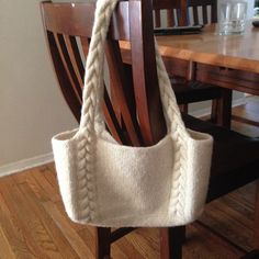 Ravelry: Project Gallery for Braided Cable Handle Tote pattern by Amanda Silveira - free knitting pattern