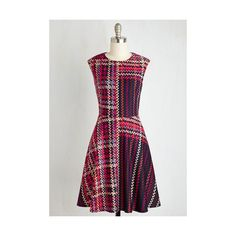 ModCloth Mid-length Sleeveless Fit & Flare Talk Show and Tell Dress by... ($170) ❤ liked on Polyvore featuring dresses, apparel, fashion dress, multi, tartan dress, neoprene dress, a line dress, tartan plaid dress and pocket dress