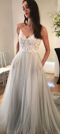 Star wedding dress by Kelly Faetanini in Blue // Pearlescent embroidered v-neck blue tulle ombre ball gown with horsehair hem | Non-strapless lace bridal gown for a rustic wedding | Princess wedding gown | #weddingdresses #weddinggowns #bridaldress #bride #bridal #bridalgown #bridetobe #weddings #dress #style #weddinginspiration #weddingideas