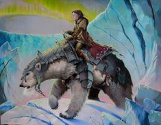 Lorek Byrnison by Steve Hutton. Illustration of 'Iorek Byrnison' with 'Lyra' on his back. Illustration to Philip Pullman's film 'The Golden Compass' Coloured pencil on paper. Signed and dated. Iorek Byrnison, Saga, The Golden Compass, Fairytale Cottage, His Dark Materials, Fantastic Art, Mythical Creatures, Character Concept, Illustration Art