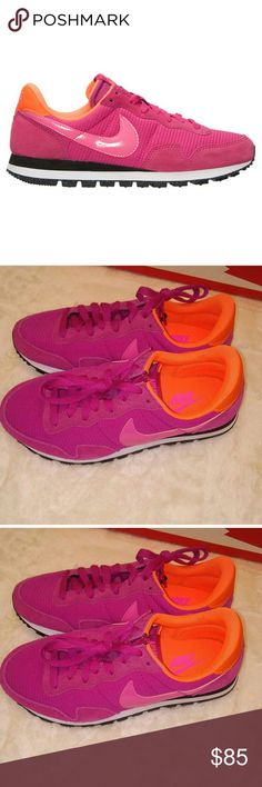 Nike Air Pegasus 83 Fireberry Foot meets shoe and has a shoegasm   Brand new in box Bottom of sole is speckled Never worn Size 7 women Nike Shoes Sneakers