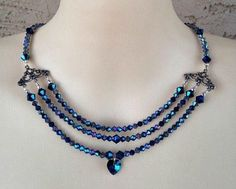 Necklace Multi Strand Style Ocean Blue Swarovski Crystal Heart Pendant #Necklace #Statement #dainty #vintage #blue #crystal