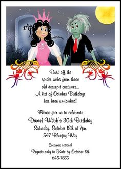 Find the most ghostly devilish and discounted halloween invitation gravestone adult birthday party halloween invites number 7800ibu hw exclusively at invitationsbyu filmwisefo