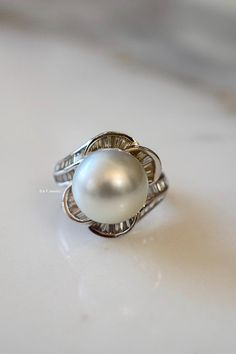 Platinum Baguette Diamond And Cultured Pearl Ring Pearl Ring, Pearl Earrings, Right Hand Rings, Baguette Diamond, Cultured Pearls, Gemstone Rings, Metal, Jewelry, Pearl Studs