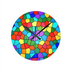 Stunning Stained Glass Rainbow 2183 Wall Clock, classroom, child's room, your office!
